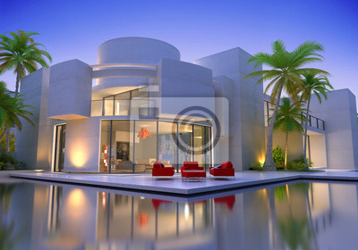 Bild: Modernes haus mit pool