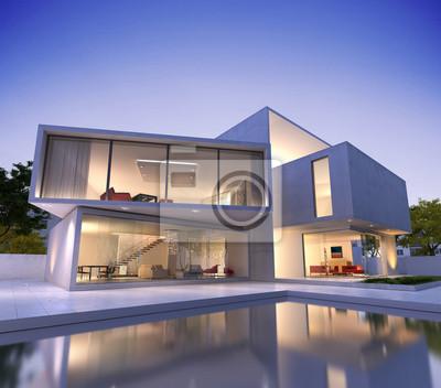 Modernes haus mit pool würfel leinwandbilder • bilder Schwimmbad ...