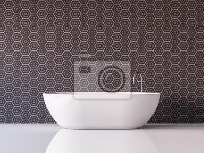 Bild Modernes Luxus Badezimmer 3D Rendering Bild Möbliert Mit Weißer  Badewanne Hat Fliesenmuster