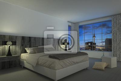 Modernes schlafzimmer - hotelzimmer leinwandbilder • bilder ...