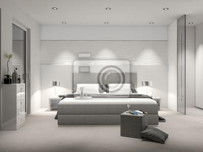 Modernes schlafzimmer mit boxspringbett leinwandbilder • bilder ...