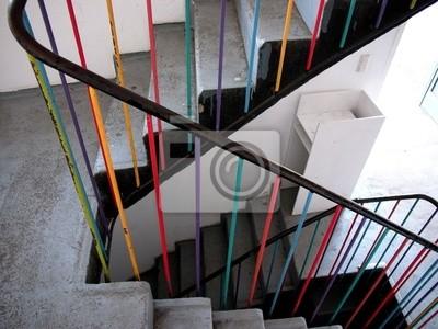 Modernes Treppenhaus Mit Buntem Treppengelander Leinwandbilder