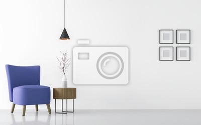 Bild Modernes Weißes Wohnzimmer Interieur Mit Blauem Sessel 3D Rendering  Image.There Sind Minimalistischen Stil