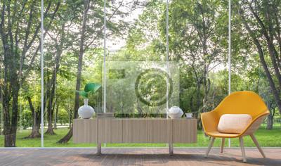 Modernes wohnzimmer im glashaus 3d render image.there sind große ...