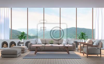 Bild Modernes Wohnzimmer Mit Bergblick 3D Rendering Bild. Es Gibt  Holzboden.Möbliert
