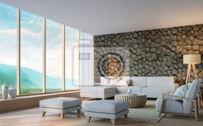 Bild Modernes Wohnzimmer Mit Bergblick 3D Rendering Image.Decorate Wand Mit  Naturstein. Es