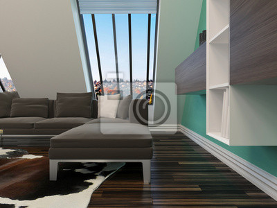 Modernes wohnzimmer mit couch und dachschräge leinwandbilder ...