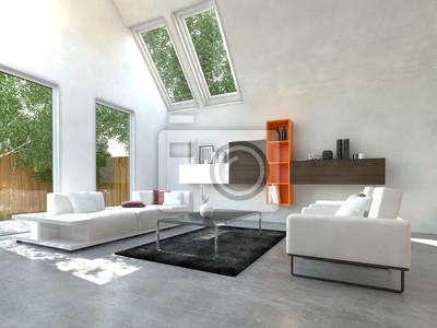 modernes wohnzimmer mit orange farbenem bucherregal leinwandbilder