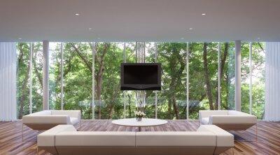 Modernes wohnzimmer, umgeben von natur. große fenster blick auf ...