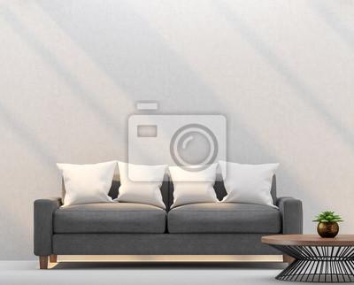 Modernes wohnzimmer und leere wände mit sonnenlicht glänzend ...