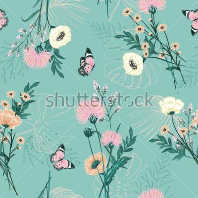 Bild Modischer Pastell vieler Art Gartenblume, Anlagen, botanisch, Schmetterling, nahtloses Mustervektordesign für Mode, Gewebe, Tapete und alle Drucke auf grüner tadelloser Hintergrundfarbe