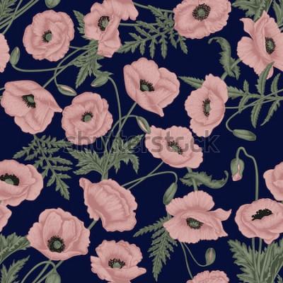 Bild Mohnblumen. Vektor nahtlose Hintergrund im Vintage-Stil. Pflanzenmuster. Botanische Zeichnung.