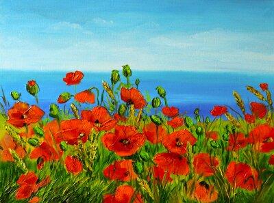 Bild Mohnfeld in der Nähe von Meer, bunte Küste, Kunst-Ölgemälde