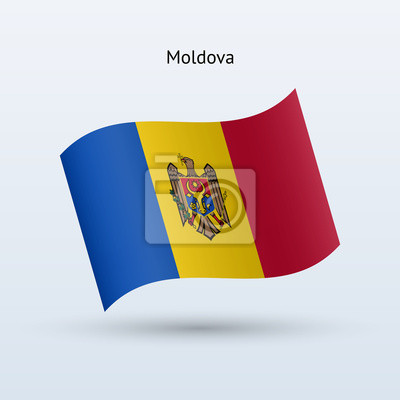 Moldawien Fahnenschwingen Form. Vektor-Illustration.