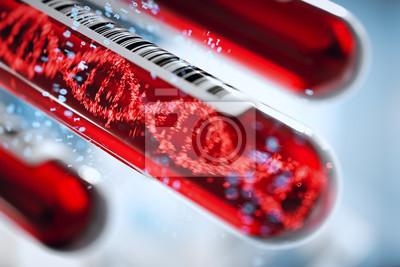 Bild Molekül der DNA, die innerhalb des Reagenzglases in der Blutprobeausrüstung bildet Wiedergabe 3d, Begriffsbild.