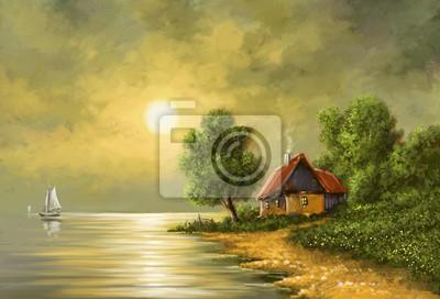 Mond Meer Landschaft Gemälde Digitale Kunst öl Leinwandbilder