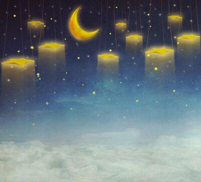 Bild Mond und Sterne am Seil am Nachthimmel