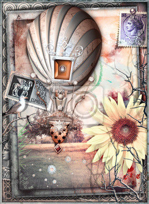 Mongolfiere Steampunk in Vol. In einem Paesaggio Fiabesco