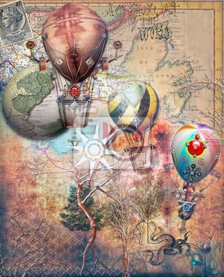 Mongolfiere steampunk su sfondo retro '