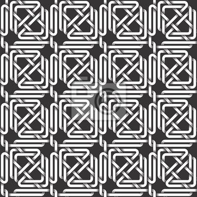 Bild Monochrom nahtlose Muster von Dreiecken geformt Twisted Bands. Zusammenfassung wiederholbaren Hintergrund.