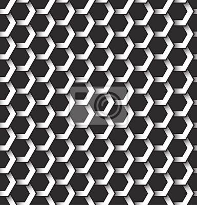 Bild Monochrom nahtlose Muster von sechseckigen Formen. Zusammenfassung wiederholbarer Hintergrund.