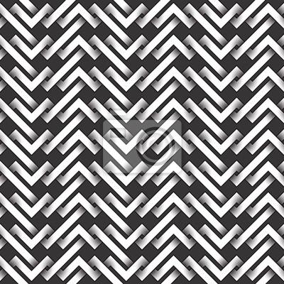 Bild Monochrome nahtlose Muster aus verflochtenen Streifen. Abstrakter wiederholbarer Hintergrund.