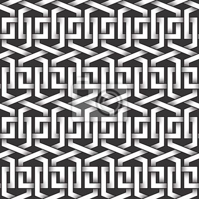Bild Monochrome nahtlose Muster von Loops geformte Twisted Bands. Zusammenfassung wiederholbaren Hintergrund.
