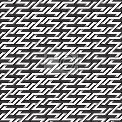 Bild Monochrome nahtlose Muster von Zickzack Twisted Bands. Zusammenfassung wiederholbarer Hintergrund.