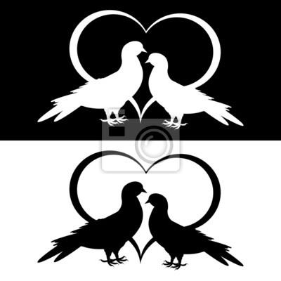 Monochrome Silhouette von zwei Tauben und ein Herz