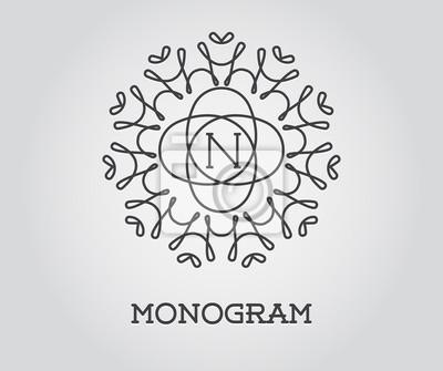 Bild Monogramm-Entwurfs-Schablone mit Buchstabe-vektorabbildung Premium-elegante Qualität