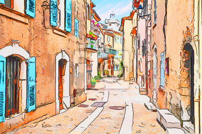 Bild Mons, Var, Provence, France: watercolor painting of the old town