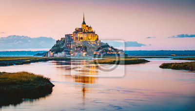 Bild Mont Saint-Michel at twilight, Normandy, France