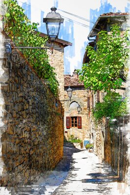 Bild Montefioralle, one of the most beautiful villages of Tuscany, Italy