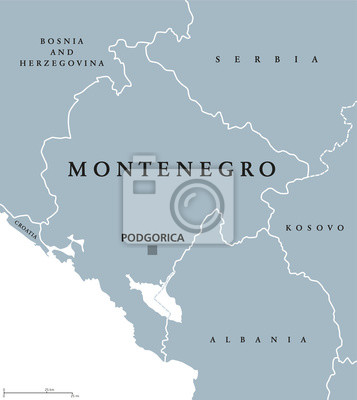 Jugoslawien Karte Früher.Bild Montenegro Politische Karte Mit Hauptstadt Podgorica Und Nachbarländern
