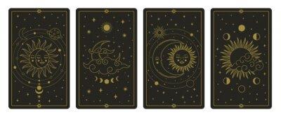Bild Moon and sun tarot cards. Mystical hand drawn celestial bodies cards, magic tarot card vector illustration set. Magical esoteric tarot cards