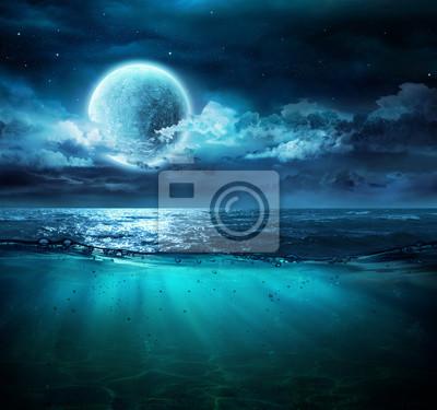 Moon On Sea In Magic Night With Underwater Scene