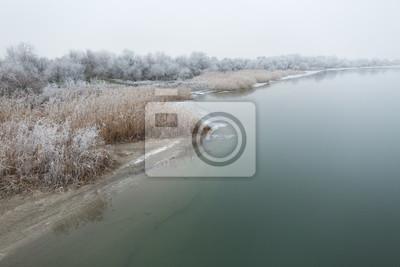 Morgen Frost auf dem Fluss