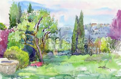 Bild Morgen im italienischen Garten. Aquarell