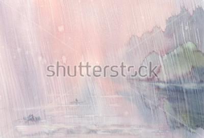 Bild Morgen Regen Aquarell Landschaft