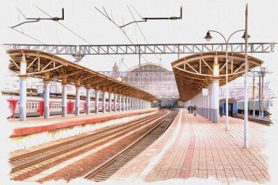 Bild Moscow city. Railway station platform. Imitation of a picture. Oil paint. Illustration