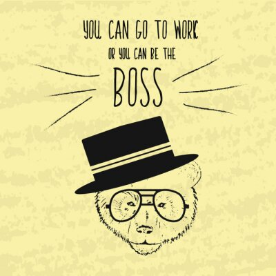 Bild Motivierend Retro Handzeichnung Plakat für die Verwirklichung der Ziele mit den klugen Phrasen über den Chef und das Geschäft. Handgemalten Vektor