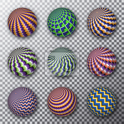Motley rotating balls on a transparent background. Set of patterned spheres with optical illusion effect.