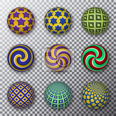 Motley rotating balls on a transparent background. Set of patterned spheres with visual motion illusion.