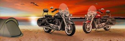Bild Motorrad, Bike am Strand beim Sonnenuntergang am Abend