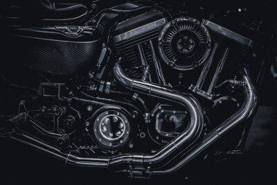 Bild Motorrad Motor Motor Auspuffrohre Kunst Fotografie in Schwarz-Weiß-Vintage-Ton