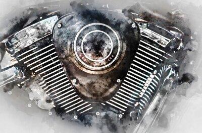 Bild Motorrad-Motor Nahaufnahme. Digitale Aquarellmalerei.