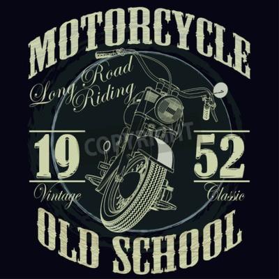 Bild Motorrad Racing Typografie Grafiken. Old School Bike. T-Shirt Design, Vektor-Illustration