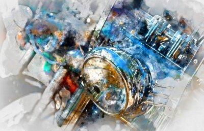 Bild Motorrad Scheinwerfer. Digitale Aquarellmalerei
