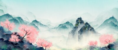 Bild Mountain forest with peach blossoms in spring and summer. Oriental ink landscape painting.