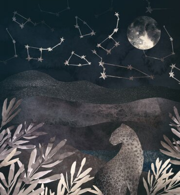Bild .Mountain night landscape with leopard. .Collage of textured shiny metallic paper